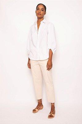camisa de tricoline punho franzido branca