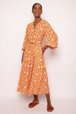 vestido nesgas laterais cordel terracota