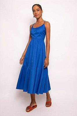 vestido corda decote U azul