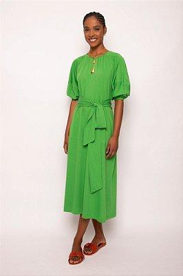 vestido malha manga bufante verde