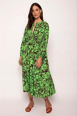 vestido bata decote V caju verde