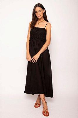 vestido busto franzido alça preto