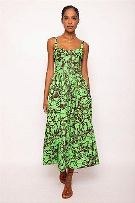 vestido recorte busto caju verde