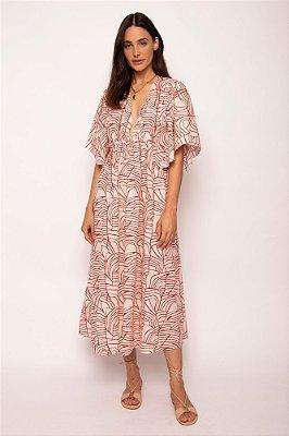 vestido manga franzida rede atanado