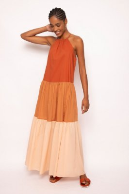 vestido longo tricolor