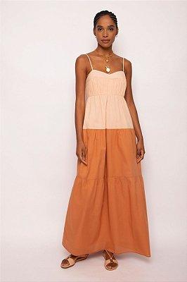 vestido longo franzido bicolor