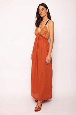 vestido longo babado bicolor