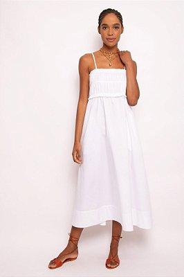 vestido busto franzido alça branco