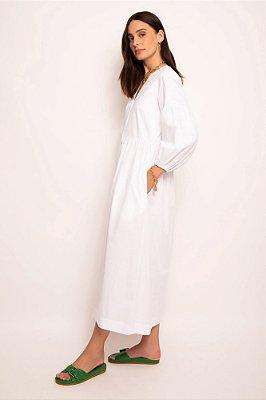 vestido pate decote v branco