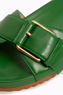 sandália flat fivela verde
