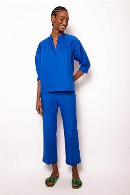 blusa decote v franzida azul