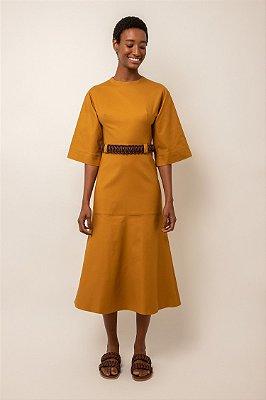Vestido estruturado midi de algodão oliva