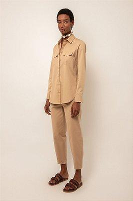 Camisa de algodão khaki com bolsos - KHAKI