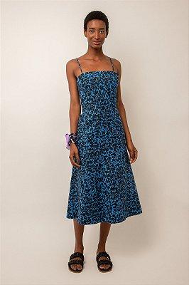 Vestido de algodão midi estampado decote reto pingos azul