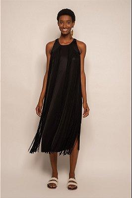 Vestido franjas preto