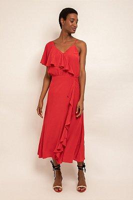 Vestido com babados diagonal vermelho