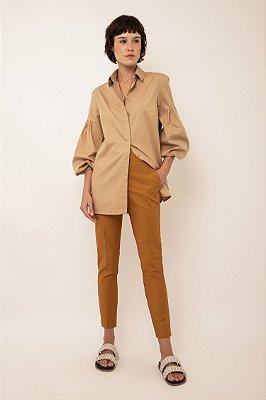 Camisa de algodão manga franzida - KHAKI