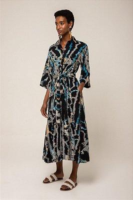 Vestido de jacquard midi chemise - JACQUARD RIO