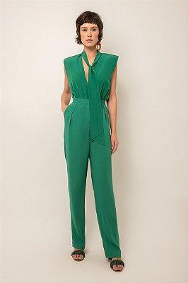 Body de seda verde esmeralda faixa