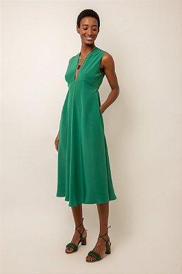 Vestido de seda midi decote verde esmeralda