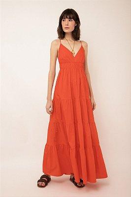 Vestido de algodão longo khaki franzido tangerina