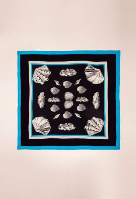 Lenço de seda estampado - CONCHAS AZUL