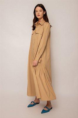 vestido chemise com bolso de algodão khaki