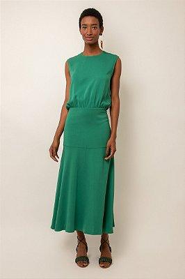 Vestido de crepe midi pala verde esmeralda