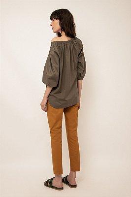 Blusa ombro a ombro de tricoline - GRAFITE