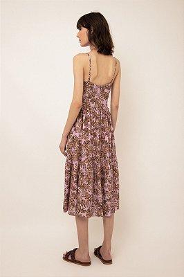 Vestido midi estampado babado barra voo lilás