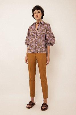 Camisa de algodão estampada manga bufante voo lilás