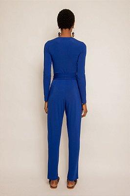 Calça pregas com faixa azul majorelle