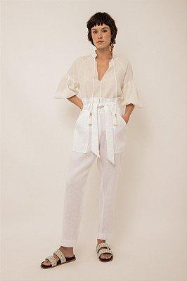 Calça de linho bolso aplicado branco