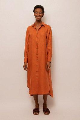 Vestido chemise midi de linho - OCRE