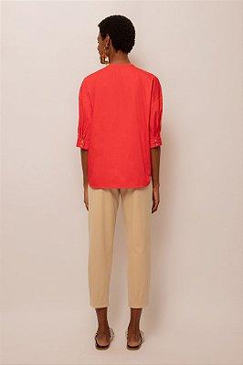 Camisa de tricoline sem gola - VERMELHO