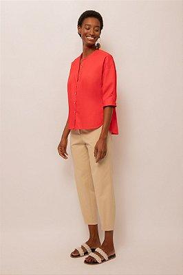 Camisa de tricoline sem gola vermelho