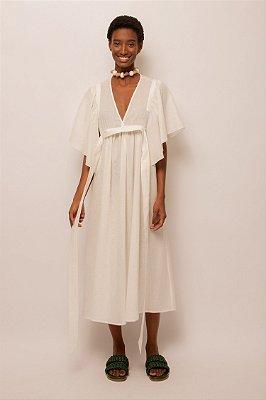 Vestido de linho decote v - OFF WHITE