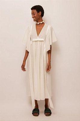 Vestido de linho decote v off white