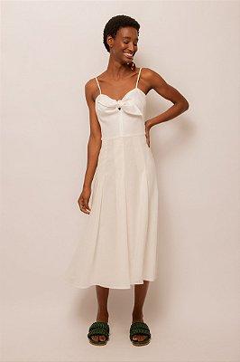 Vestido de linho decote laço off white