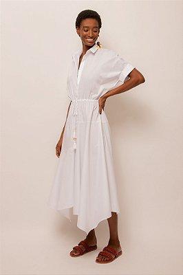 Vestido de tricoline midi pontas - BRANCO