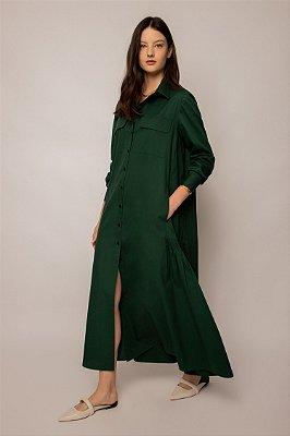 vestido chemise com bolso de algodão floresta