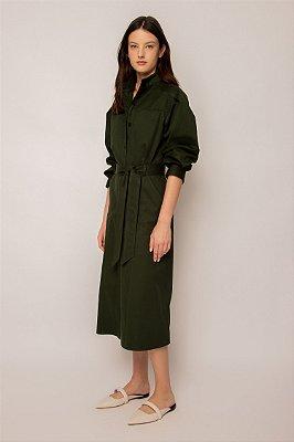 vestido gola alta de algodão floresta - FLORESTA