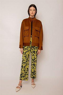 jaqueta com bolsos de lã castanho
