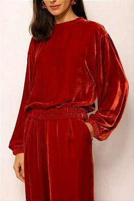 casaco pull de veludo vermelho