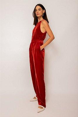 calça de veludo pregas vermelho