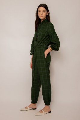 macacão manga longa de algodão xadrez verde