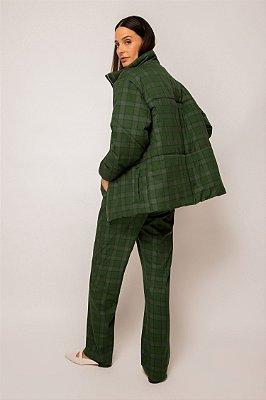 casaco matelassê de algodão xadrez verde