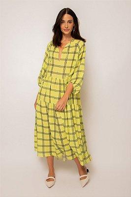 vestido de linho misto decote v xadrez lima