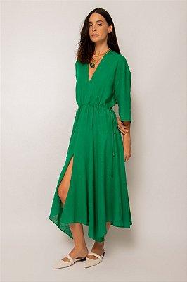 vestido de linho misto pontas verde - VERDE