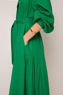 vestido de linho misto nesga lateral verde